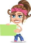 Little Female Gangster Kid Cartoon Vector Character AKA BabyB - Sign 3