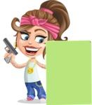 Little Female Gangster Kid Cartoon Vector Character AKA BabyB - Sign 6
