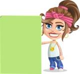 Little Female Gangster Kid Cartoon Vector Character AKA BabyB - Sign 8
