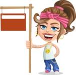 Little Female Gangster Kid Cartoon Vector Character AKA BabyB - Street Sign