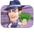Old School Gangster with Hat Cartoon Vector Character AKA Luigi - Shape 2