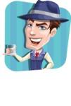 Old School Gangster with Hat Cartoon Vector Character AKA Luigi - Shape 3