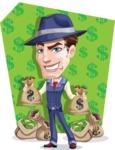 Old School Gangster with Hat Cartoon Vector Character AKA Luigi - Shape 5