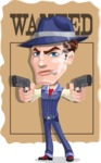 Old School Gangster with Hat Cartoon Vector Character AKA Luigi - Shape 7