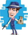 Old School Gangster with Hat Cartoon Vector Character AKA Luigi - Shape 12