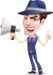 Old School Gangster with Hat Cartoon Vector Character AKA Luigi - Loudspeaker