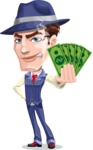Old School Gangster with Hat Cartoon Vector Character AKA Luigi - Show me the money