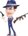 Old School Gangster with Hat Cartoon Vector Character AKA Luigi - Gun 3