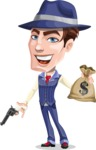 Old School Gangster with Hat Cartoon Vector Character AKA Luigi - Gun and money