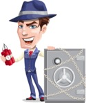 Old School Gangster with Hat Cartoon Vector Character AKA Luigi - Safe 1