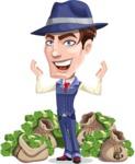 Old School Gangster with Hat Cartoon Vector Character AKA Luigi - Stacks of money
