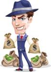 Old School Gangster with Hat Cartoon Vector Character AKA Luigi - Bags of money