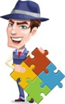 Old School Gangster with Hat Cartoon Vector Character AKA Luigi - Puzzle