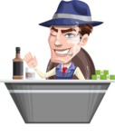 Old School Gangster with Hat Cartoon Vector Character AKA Luigi - Desk