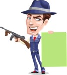 Old School Gangster with Hat Cartoon Vector Character AKA Luigi - Sign 6