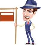 Old School Gangster with Hat Cartoon Vector Character AKA Luigi - Street Sign