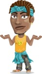 Street Gangster Cartoon Vector Character AKA Jay A - Confused
