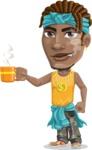 Street Gangster Cartoon Vector Character AKA Jay A - Coffee