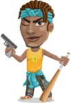 Street Gangster Cartoon Vector Character AKA Jay A - Gun and Bat