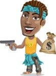 Street Gangster Cartoon Vector Character AKA Jay A - Gun and money