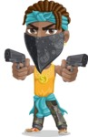 Street Gangster Cartoon Vector Character AKA Jay A - Pistols