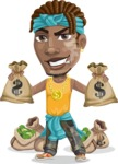 Street Gangster Cartoon Vector Character AKA Jay A - Bags of money