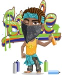 Street Gangster Cartoon Vector Character AKA Jay A - Graffiti