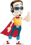 Boy with Superhero Cape Cartoon Vector Character AKA Victor Nerdbolt - Thumps Up
