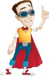 Boy with Superhero Cape Cartoon Vector Character AKA Victor Nerdbolt - Attention