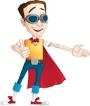 Boy with Superhero Cape Cartoon Vector Character AKA Victor Nerdbolt - Show with Thumbs Up
