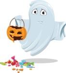 Cute Ghost Cartoon Vector Character AKA Boo Transparento - Being Sad With Broken Pumpkin Lantern
