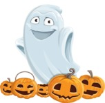 Cute Ghost Cartoon Vector Character AKA Boo Transparento - Celebrating Halloween With Pumpkins