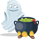 Cute Ghost Cartoon Vector Character AKA Boo Transparento - Cooking in a Caldron