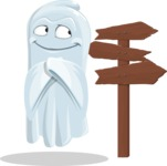 Cute Ghost Cartoon Vector Character AKA Boo Transparento - Choosing a Way To Go