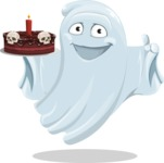Cute Ghost Cartoon Vector Character AKA Boo Transparento - Holding a Halloween Cake