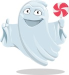 Cute Ghost Cartoon Vector Character AKA Boo Transparento - Holding a Treat