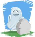 Cute Ghost Cartoon Vector Character AKA Boo Transparento - On Graveyard Background