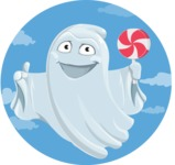 Cute Ghost Cartoon Vector Character AKA Boo Transparento - On Sky Background