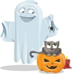Cute Ghost Cartoon Vector Character AKA Boo Transparento - Playing With Cat on Halloween