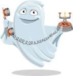 Cute Ghost Cartoon Vector Character AKA Boo Transparento - Talking on Phone
