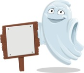 Cute Ghost Cartoon Vector Character AKA Boo Transparento - With a Blank Wood Sign