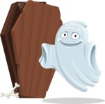 Cute Ghost Cartoon Vector Character AKA Boo Transparento - With a Coffin and a Zombie