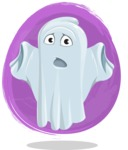 Cute Ghost Cartoon Vector Character AKA Boo Transparento - With a Watercolor Background