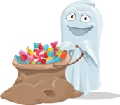 Cute Ghost Cartoon Vector Character AKA Boo Transparento - With Bag full of Halloween Treats
