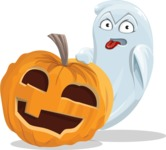 Cute Ghost Cartoon Vector Character AKA Boo Transparento - With Big Halloween Pumpkin