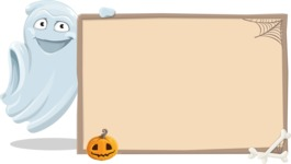 Cute Ghost Cartoon Vector Character AKA Boo Transparento - With Blank Halloween Whiteboard