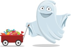 Cute Ghost Cartoon Vector Character AKA Boo Transparento - With Candy Wagoon