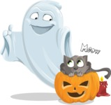 Cute Ghost Cartoon Vector Character AKA Boo Transparento - With Cat
