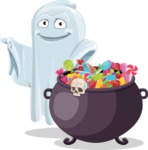 Cute Ghost Cartoon Vector Character AKA Boo Transparento - with Cauldron full of Sweets