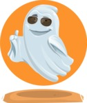 Cute Ghost Cartoon Vector Character AKA Boo Transparento - With Cool Background